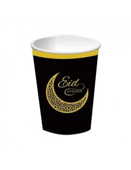 "Lot de 6 Gobelets ""Eid Mubarak"" Noir et Or"