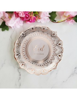 "Lot de 6 assiettes ""Eid mubarak"" rose gold"