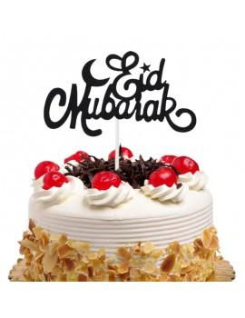 "Topper à gâteau ""Eid Mubarak"" noir"