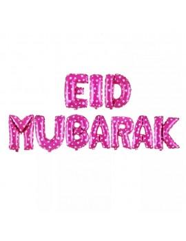 "Banderole ""Eid Mubarak"" rose avec coeurs blancs"