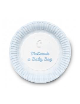 Lot de 6 assiettes spéciale naissance - version garçon