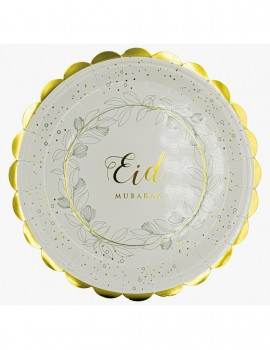 "Lot de  6 assiettes ""Eid mubarak"" or nature"