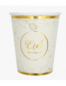 "Lot de 6 verres ""Eid Mubarak"" or naturel"