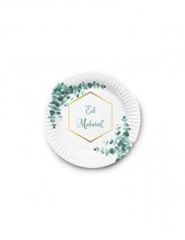"""Lot de  6 assiettes """"Eid mubarak"""" eucalyptus"""