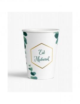 "Lot de 6 verres ""Eid Mubarak"" eucalyptus"