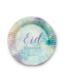 "Lot de  6 assiettes ""Eid mubarak"" watercolor"
