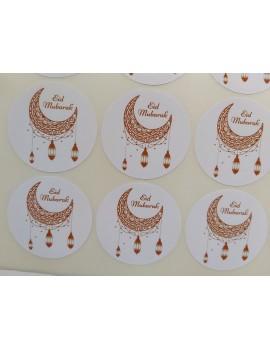 """Lot de 12 autocollants """"Eid Mubarak"""" lanternes dorées"""