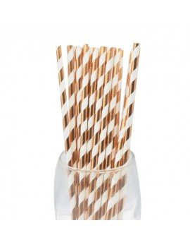 Lot de 10 pailles Blanc/rose gold brillant