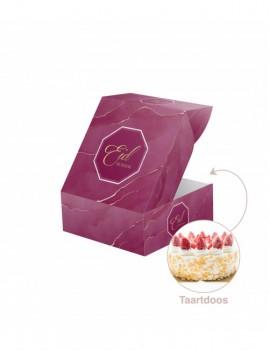 """Boîte à gâteau """"Eid mubarak"""" Aubergine gold"""