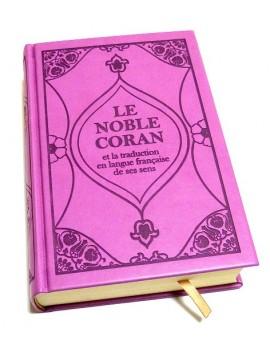 Le Noble Coran (bilingue français/arabe) - Edition de luxe couverture cartonnée en daim mauve-violet