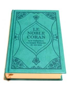 Le Noble Coran (bilingue français/arabe) - Edition de luxe couverture cartonnée en daim Bleu-vert