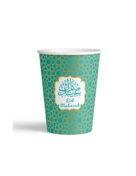 """Lot de 6 verres """"Eid Mubarak"""" vert/or"""