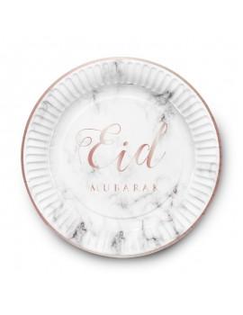 """Lot de 6 assiettes """"Eid Mubarak"""" marbre"""