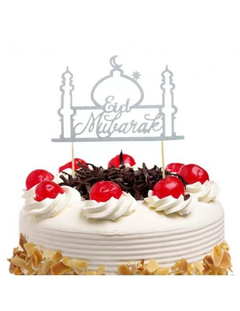 """Topper à gâteau """"Eid Mubarak"""" argenté"""