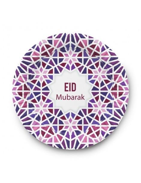 """Lot de 6 assiettes """"Eid Mubarak"""""""