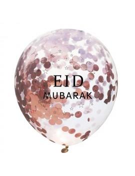 "Lot de 6 ballons ""Eid mubarak"" avec confettis"