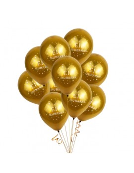 "Lot de 10 ballons ""Eid Mubarak"""