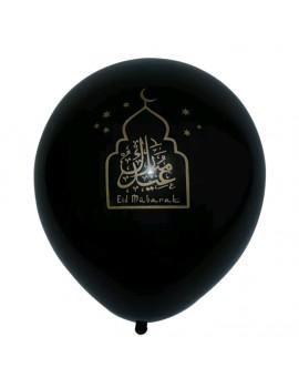 """Lot de 10 ballons """"Eid Mubarak"""" Noir"""