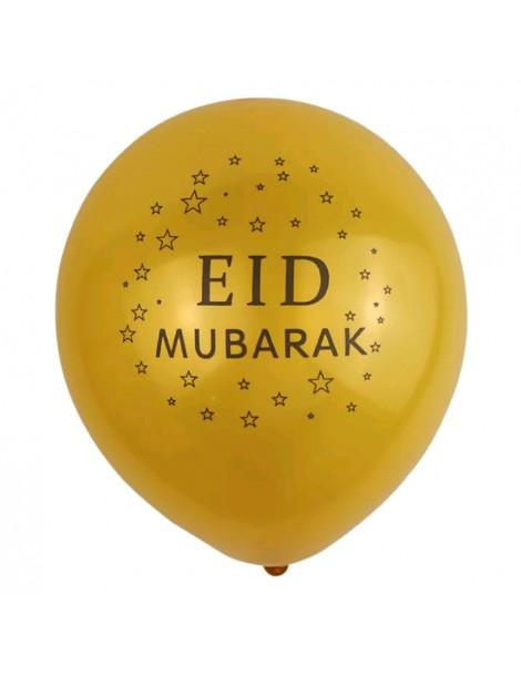 "Lot de 10 ballons ""Eid Mubarak"" Or"